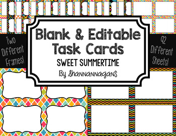 Blank Task Cards: Sweet Summertime Collection (300dpi) | Editable PowerPoint