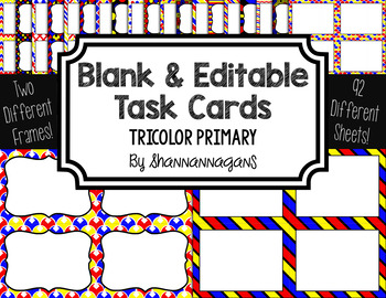 Blank Task Cards: Tricolor Primary | Editable PowerPoint