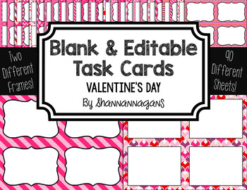 Blank Task Cards: Valentine's Day | Editable PowerPoint
