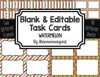 Blank Task Cards: Watermelon Collection (300dpi) | Editable PowerPoint