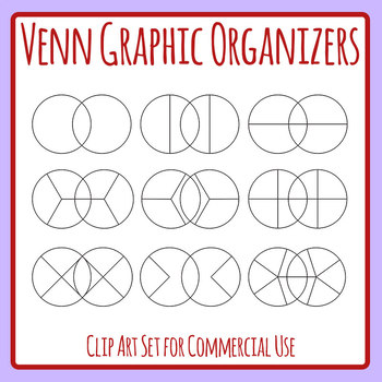 Blank Template Divided Venn Graphic Organizer Clip Art Set for Commercial Use
