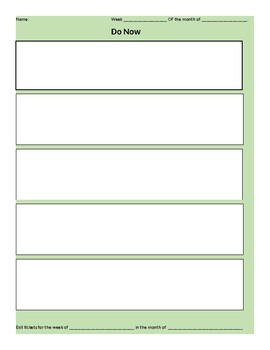 Blank Template Do now and Exit ticket form