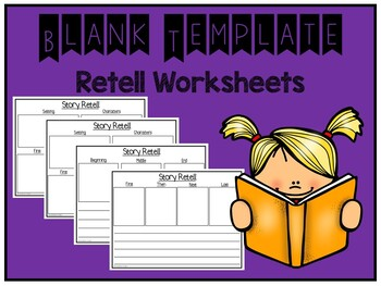 Blank Template Retell Writing Worksheets (Distance Learning)