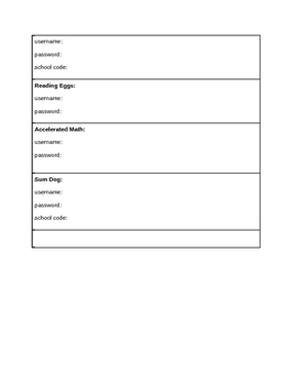 Blank Template for Student Password Cards