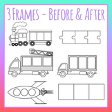 Blank Three Frames - Before and After Numbers Letters Clip Art Commercial Use