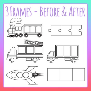 Blank Three Frames Before And After Numbers Letters Clip Art