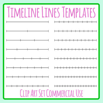 Blank Timeline Template Lines with Dividers from 0 to 15 Clip Art Set