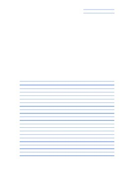 Blank Top Italic Handwriting Paper with Windows for Diagrams (Blue)