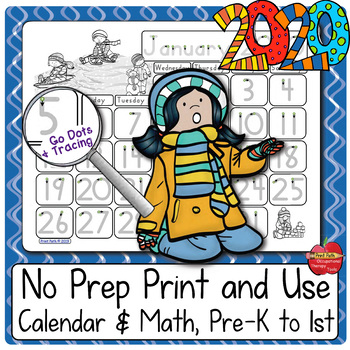 Blank & Traceable Monthly Student Calendars: 3-sets for 2020
