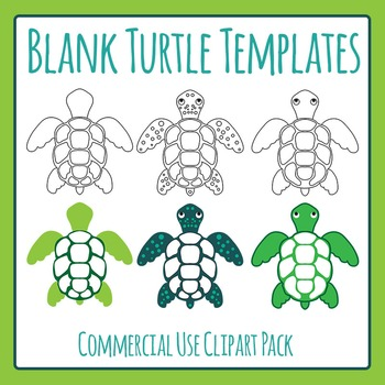 Blank Turtle Templates / Outlines Clip Art for Commercial Use