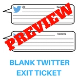 Blank Twitter or Tweet Form Exit Ticket