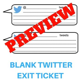 Blank Twitter or Tweet Form Exit Ticket