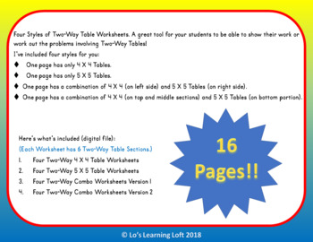Blank Two-Way Tables Worksheets by Lo's Learning Loft | TpT