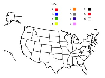 Blank United States Map and Number Color Key