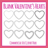 Blank Valentine's Day Heart Templates Commercial Use Clip Art Set