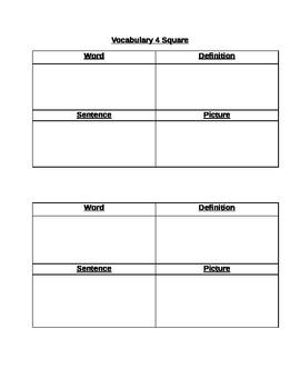 Blank Vocabulary 4 Square