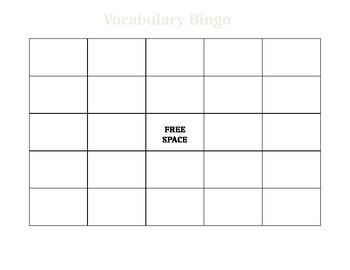 Blank Vocabulary Bingo