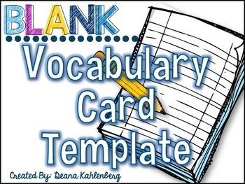 Blank Vocabulary Card Template