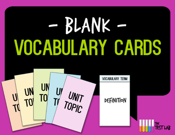 Blank Customizable Vocabulary Card Template