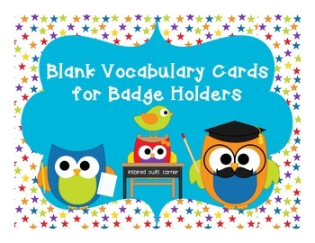 FREEBIE Blank Vocabulary Cards for Badge Holders