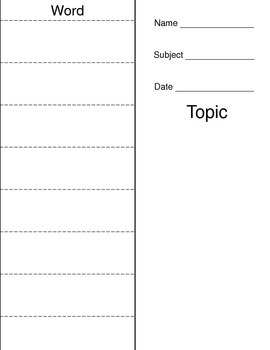 Blank Vocabulary Foldable for Any Topic- Draw a Picture Write a Definition