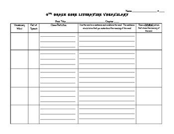 Blank Vocabulary Grid