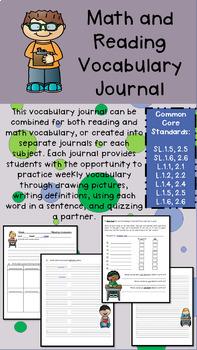 Grade 2 Vocabulary Journal - Reading and Math