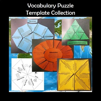 Blank Vocabulary Puzzle Tarsia Template Collection TpT