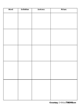 Blank Vocabulary Template