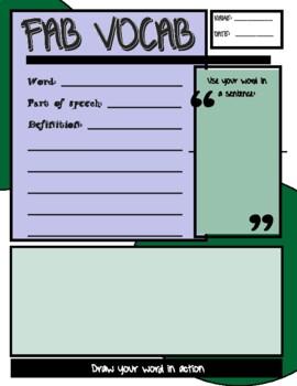 Blank Vocabulary Worksheet - Middle School