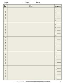 Blank Warm-Up Sheet Options