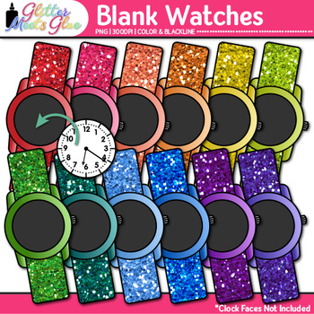Blank Watch Clip Art | Clock Face Frames & Templates for Telling Time Resources