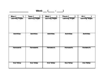 Blank Weekly Calendar: Learning Target, Activities, HW, Due Dates