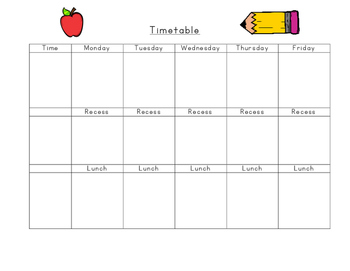 Blank Weekly Class Timetable
