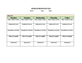 Blank Weekly IEP Remediation Plan Template (Editable)