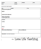Blank Weekly Lesson Plan Template (MS Word Template File)