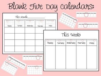 Blank Weekly and Monthly Calendars