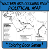 *Coloring Book Page*  Western Asia Political Map