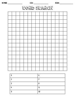 Blank Word Search Worksheet