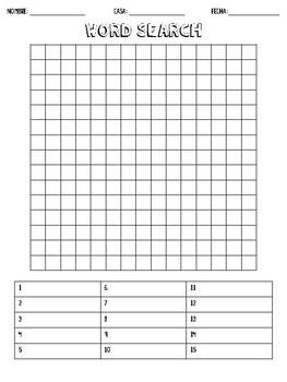 Blank Word Search Worksheet by Helpful High-school ...