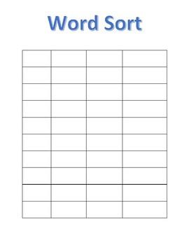 blank word sort template by rebecca benjamin teachers pay teachers