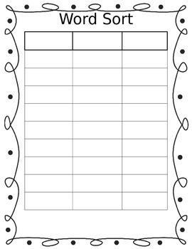 Blank Word Work Sort Sheet