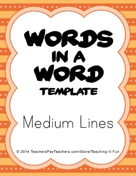 Blank Words In A Word Template With Medium Lines : Second, Third & Fourth Grade