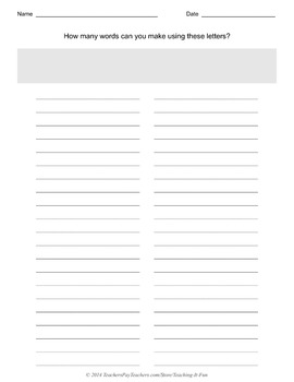 Blank Words In A Word Template With Narrow Lines : Fifth & Sixth Grade
