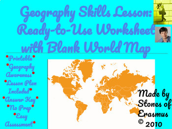 Geography Skills Lesson: Ready-to-Use Worksheet with Blank World Map