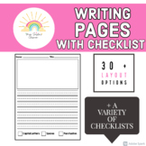 Blank Writing Page with Picture and Guided Lines- INCLUDES Checklist