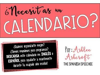 FREE Calendar/Fill-in: Spanish Version