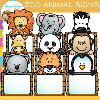 Blank Signs with Zoo Animals Clip Art