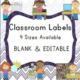 Blank and Editable Classroom Labels and Frames in Chevron Purple Ombre