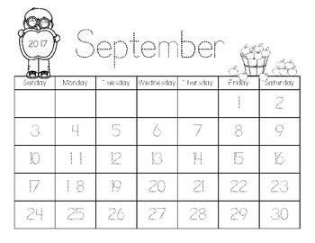 Blank and Traceable Monthly Calendars